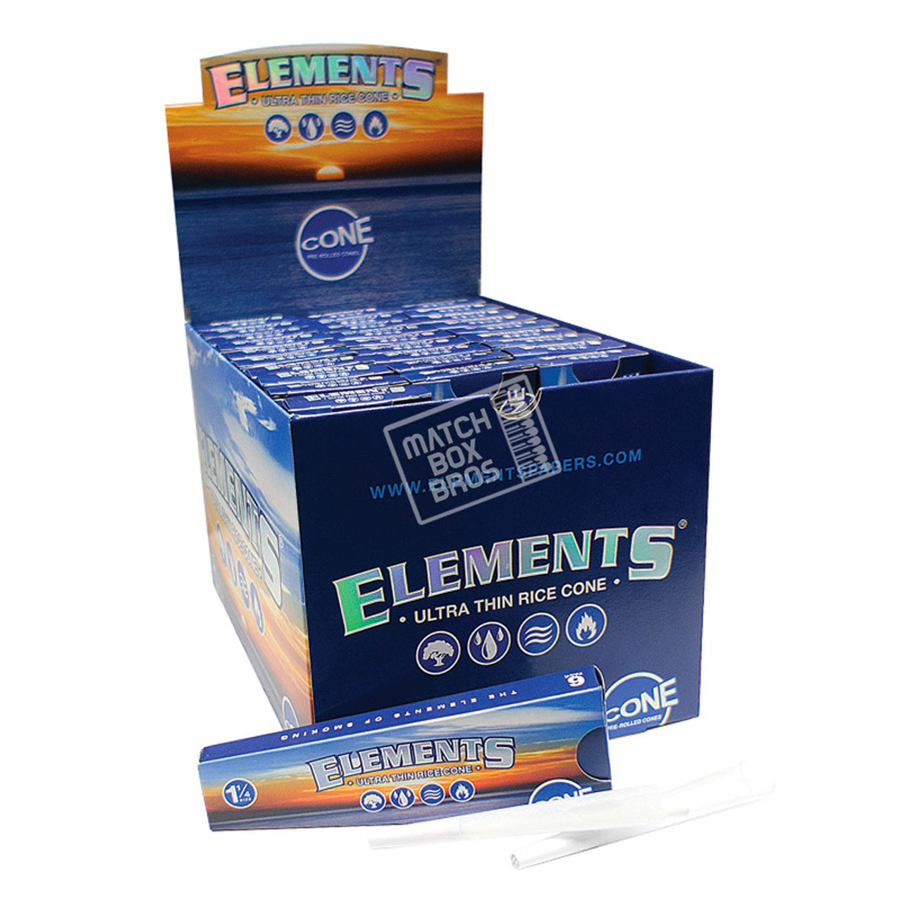 Elements Pre Rolled Cones 1 1/4 6/Pack Full Box