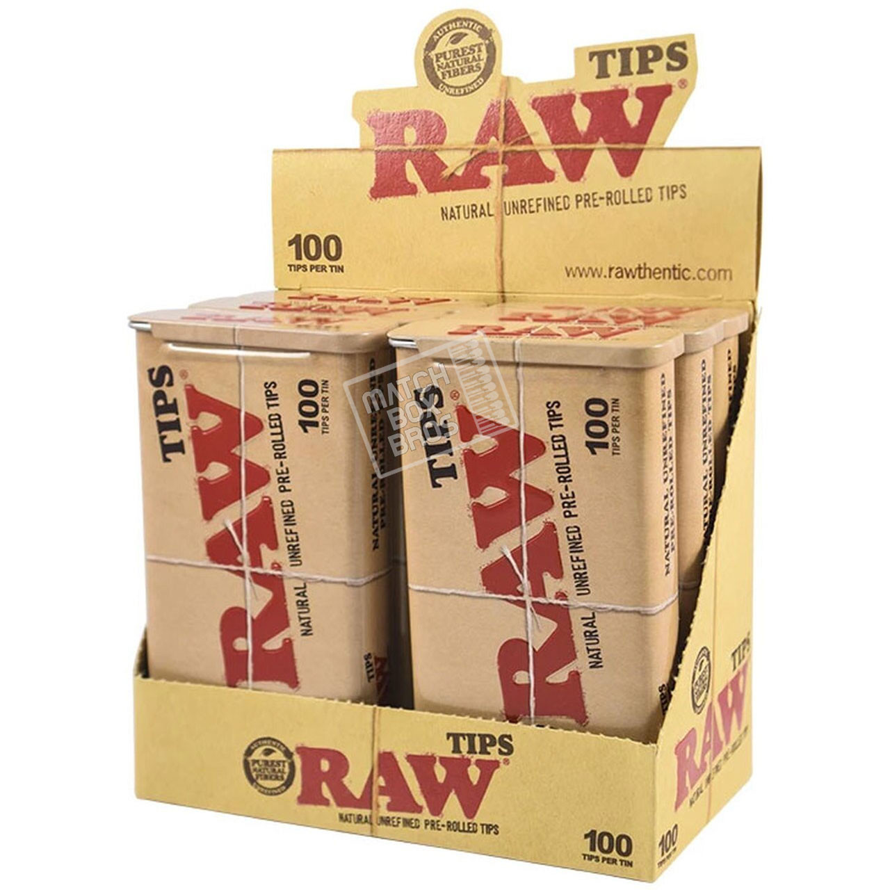 RAW Pre-Rolled Tips 100ct Tin Full Box