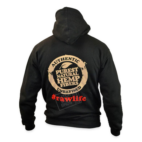 RAW Mens Hoodie Black w/ Poker String 02