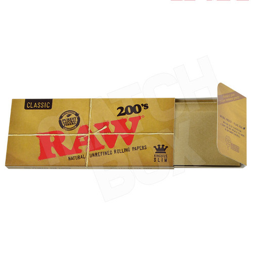 RAW King Size Slim 200's Single Pack Open