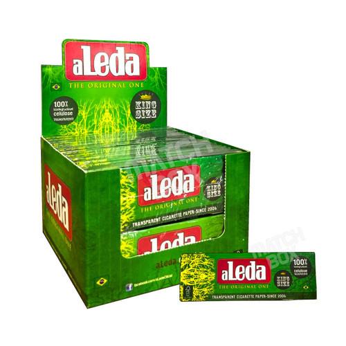 Aleda Green King Size Clear Rolling Paper Full Box