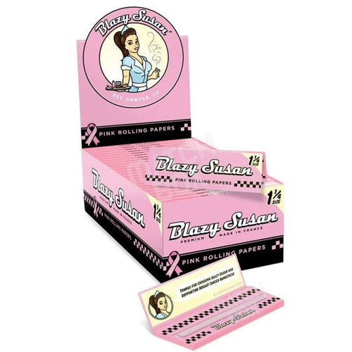 Blazy Susan 1 1/4 Size Pink Rolling Paper Full Box