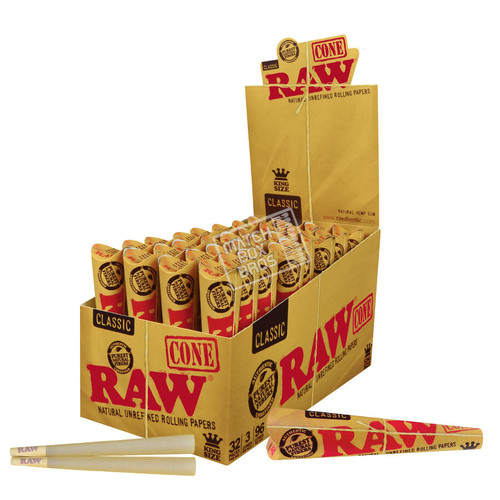 RAW Cone Organic 1¼ King Size - 32 Pack Open Box