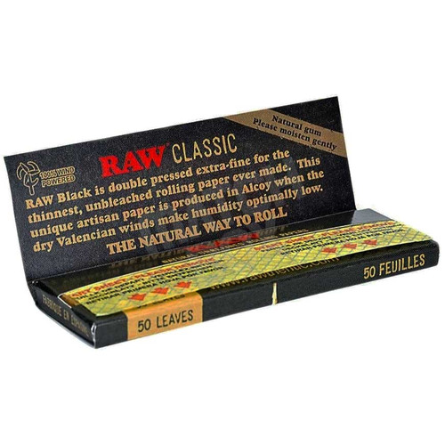 RAW Black King Size Slim Single Pack Open