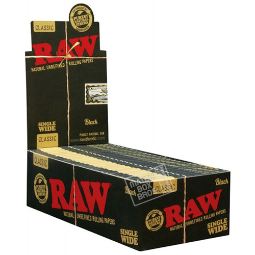 RAW Black Single Wide Rolling Paper Full Box