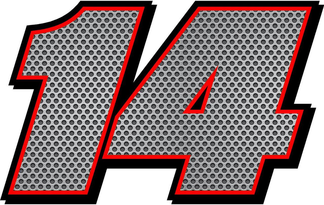 Full color racecar numbers metal mesh decals stickers