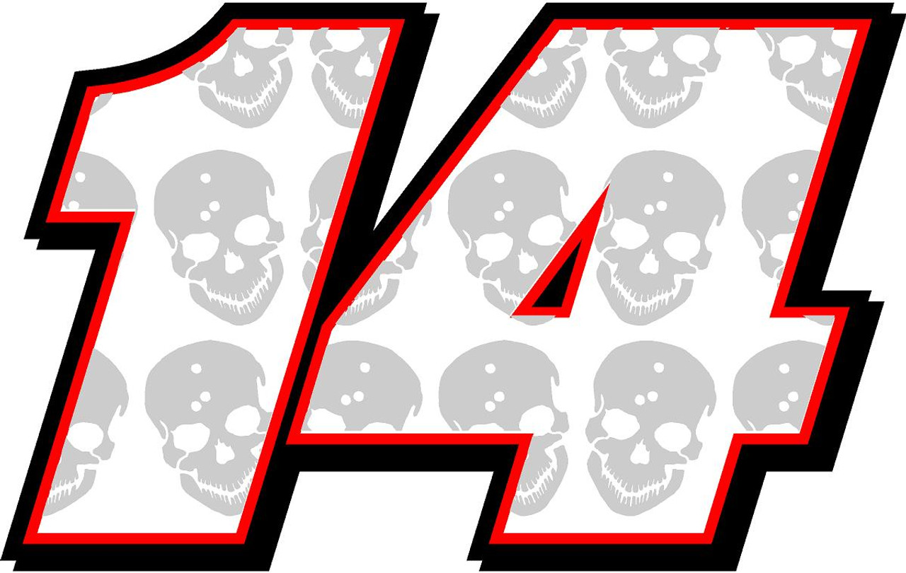 Full Color Numbers Vinyl Skull Decal Kit With Drivers Name Race