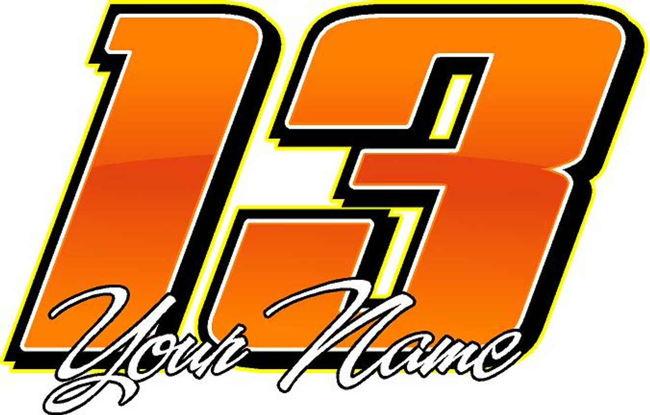 6 racing team decal numbers for friends fans and family