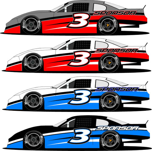 Half Wrap 3 late model racing graphics