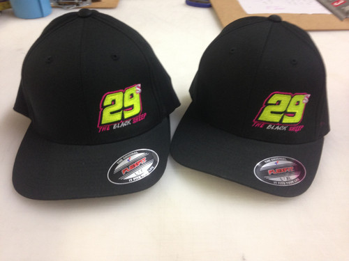 Flex Fit Black 29 racing embroidery caps