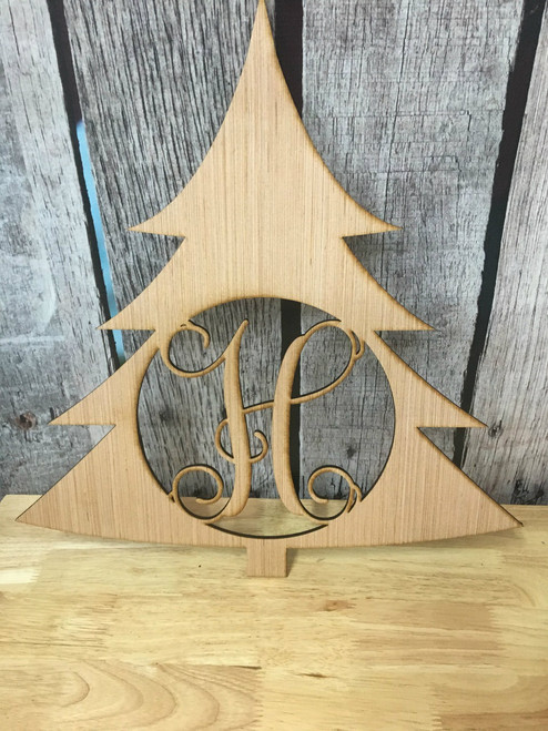Laser Cut Wood Christmas Tree Monogram