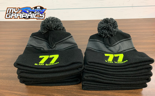 Embroidered Pom Pom Beanie with racing number and name