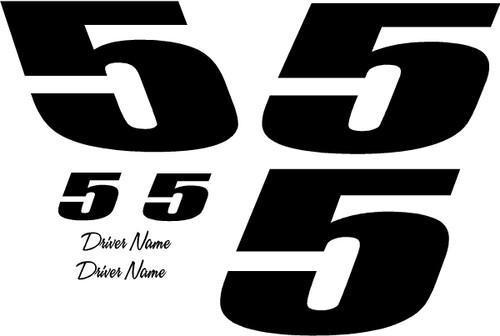 1 color 1 digit race car number vinyl decal kit for race car