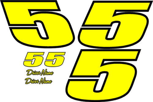 Number Kit 2 color 1 digit race car decals with drivers name