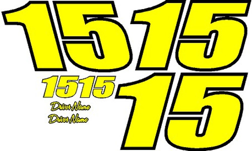 2 color 2 digit racecar numbers vinyl decal kit with drivers name