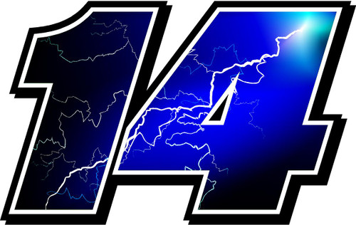 Full Color Lightning Race Car Number Decals stickers