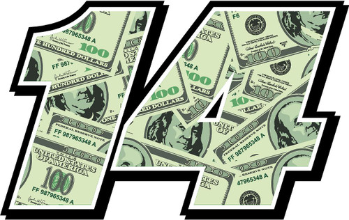 Money Full Color Number Race Car Decal Kit Stickers
