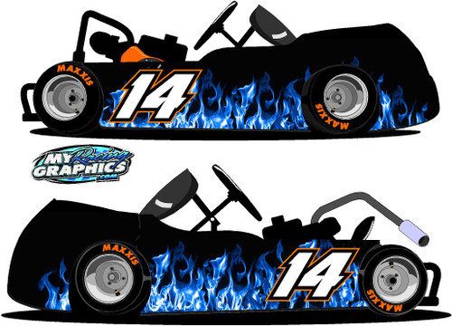 Blue Flame Racing go Kart Wrap Graphics