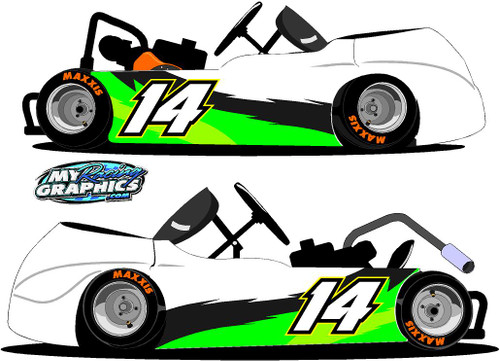 Side Wrap Racing Go Kart Graphics Includes number