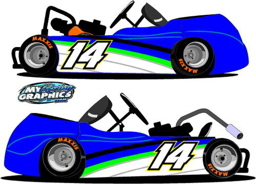 Go Kart Side Wrap Graphic with Numbers decals