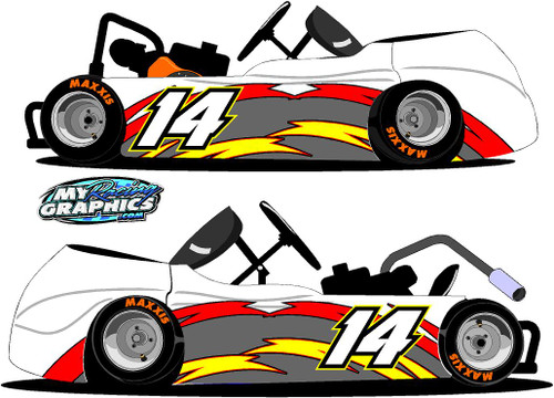 Racing Go Kart Side Wrap 3 with numbers decals
