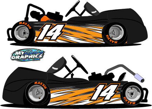 Side Graphic 4 Racing Go Kart Wrap
