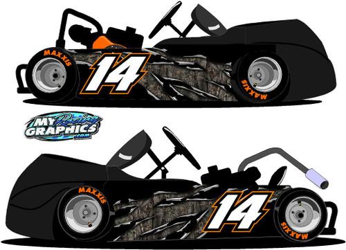 Camo Rip Racing Go Kart side wrap decals