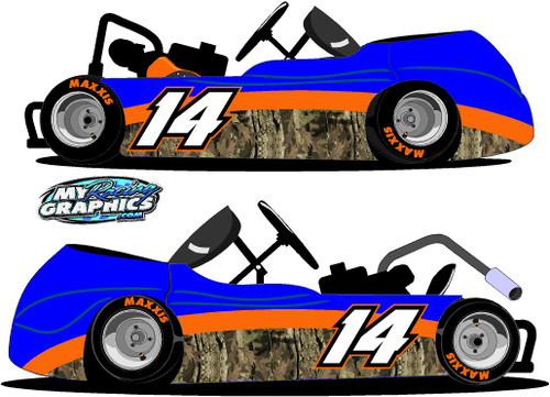 Camo Racing Go Kart Side Graphic stickers