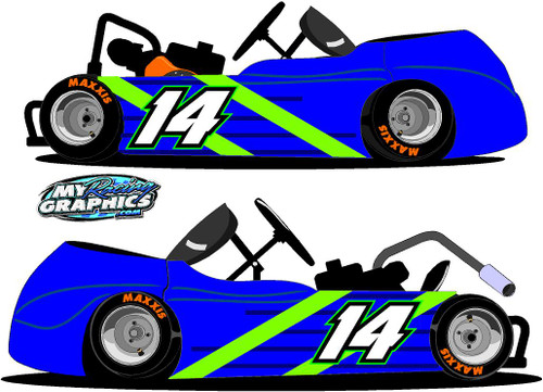 Racing Gokart side wrap Graphic blue green stickers decals