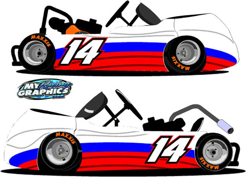 Racing Kart Side Wrap 5 Stickers decals