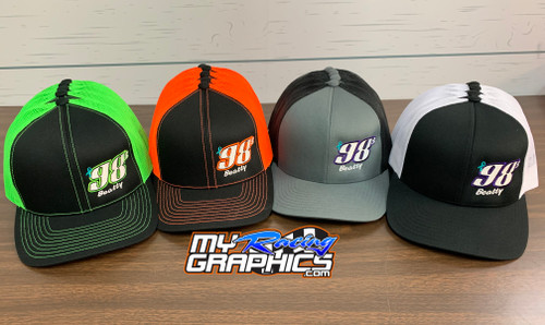 Trucker Mesh Pacific Headwear Trucker Mesh Caps Custom Racing Number Embroidery