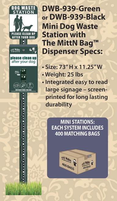 Mini Dog Waste Station with The MittN Bag™ Dispenser – DWD-939
