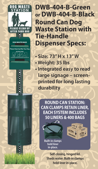 Round Can Tie-Handle Dog Waste Station – DWD-404-B