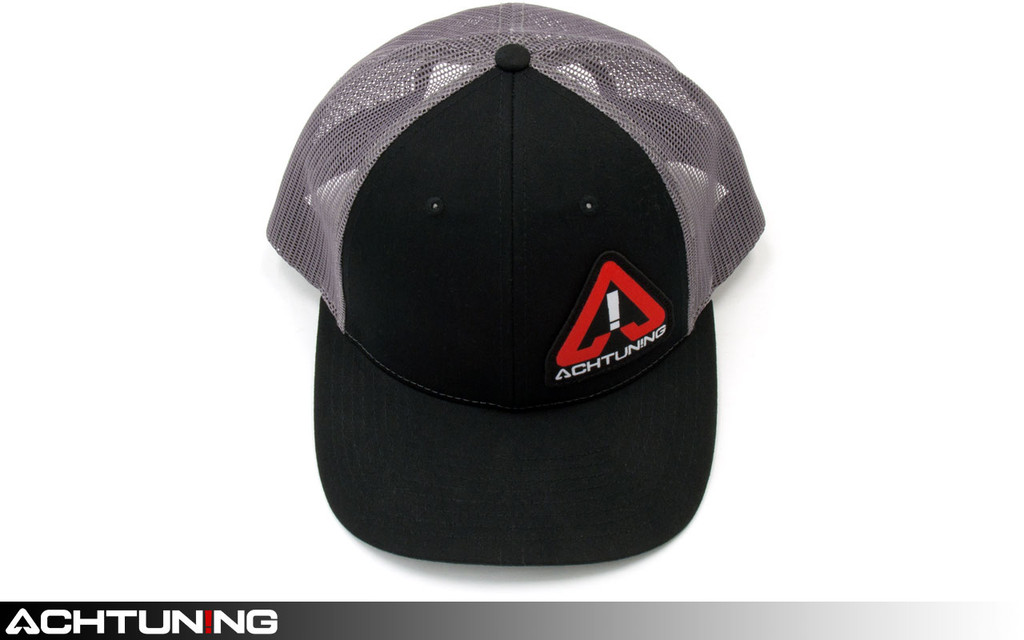 Achtuning Hat Black and Grey Mesh with Red and White Logo