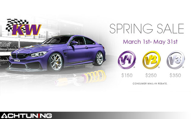 KW Spring Rebate Special! $150-$350 back on select V1, V2, and V3 Coilover kits with free shipping!
