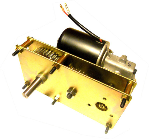 Due to its low speed and 12vdc features, this motor is ideal for a mobile rotisserie application.   Other applications include display turntable, conveyor system, sign display, motorized fishing reel,  and more.  For the rotisserie application, be sure to set up bearings specifically to hold up the weight of the  meat so the motor is only to rotate the meat with minimum axial and radial loads.  Also, flexible  couplings are highly recommended for a direct-drive set up.  Due to the nature of a BBQ  rotisserie's high temperature environment, make sure the motor is placed far enough from the heat  to prevent failures of the motor's mechanical or electrical components.  A fire wall should be  considered to protect the motor.  This motor was tested with a 50kg (110lb) of weight with its 5rpm  speed at ease.  The 50kg (110lb) weight is to simulate a 50kg (110lb) hog/pig that is traditionally  roasted with an outdoor BBQ rotisserie set up.  Thanks to its 12vdc motor, it is possible to run this  motor with a 12v battery.    12VDC Gear Motor:  91.7 N-m (67.6 ft-lb) torque at 5 RPM.  Permanent magnet stator.  Overall  envelope less shaft dimensions are 8.5 inches by 4.6 inches by 4.3 inches.  Shaft dimensions are  15mm diameter by 50mm (2.0 inches) of length.  The shaft is a D-shaft (shaft with a flat).  Motor  control is very simple.  A center-off DPDT switch is included so the user simply leave the toggle at  its center position for off, flip the toggle to one side for forward, and flip the toggle to other side for  reverse.