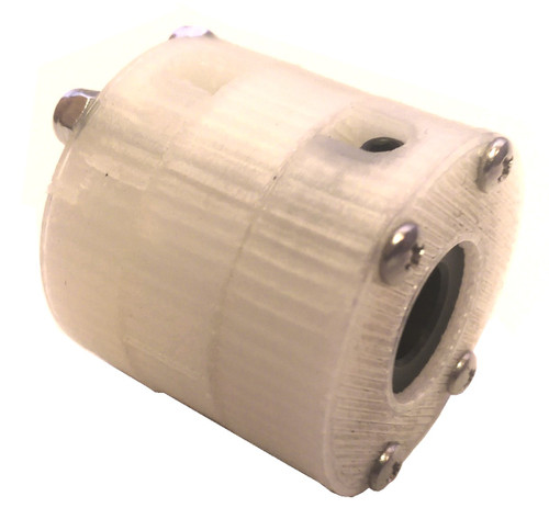 "This general-purpose coupling is designed and made in the USA.  Secure Type:  Set screw, this requires a shaft with a flat surface Materials:  Nylon Body with Steel Hubs Available Bore Sizes (Please select your combination):  10mm, 12mm, 3/8"", 1/2"" Maximum Torque:  7 ft-lb (9.5 N-m) Dimensions:  1.5""(38.1mm) OD by 1.4""(35.6mm) Length"