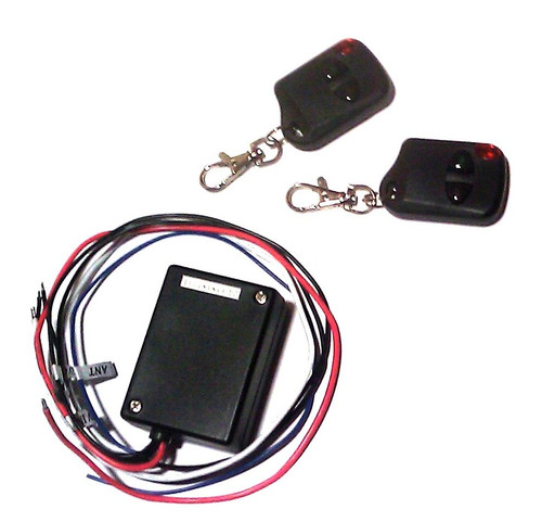 The wireless controller functions as a reversible momentary control switch from a 12v dc power  source. By holding down the right side button, the motor runs in one direction until the user releases  the button; by holding down the left side button, the motor runs in the opposite direction until the user  releases the button. Current rating is 3 amps.  Two transmitters (with batteries) are included in this  package.  Wireless signal range is 100 ft.