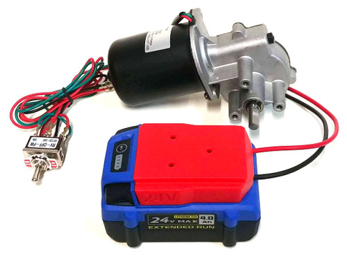 24v DC Gearmotor with Reverse Switch and Battery Adapter (PN01107-10DB)