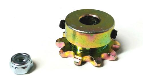 Sprocket, 10 teeth, #35, 10mm bore, 2 set screws, tightening nut.