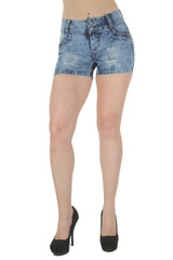 Plus Size Butt Lift Levanta Cola Mid Waist Ripped Distress Booty Shorts - G675SH-P