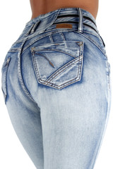 Colombian Design butt lifter High Waist Skinny Plus / Junior Size Jeans - VR9-9W035(S)