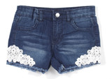 Girls' Stretch 4 Pockets Denim Jeans Shorts with Lace - 7H073(SH)