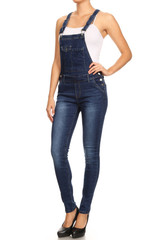 Women's Juniors / Plus Stretch Denim Jean 6 Button Adjustable Straps Overalls - GJ5268