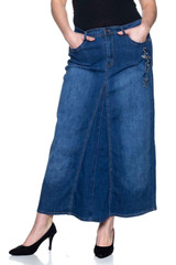 Women's Plus Size Mid Rise A-Line Long Jeans Maxi Denim Embroidered Skirt - 86255X