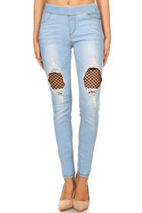 Women's Juniors Shaping Pull-On Ripped Stretch Denim Skinny Jeans - 18010