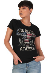 Women's Juniors Patriotic Casual Graphic Print Short Sleeve T-Shirt Top - DN2003