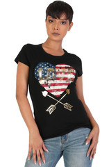 Women's Juniors Patriotic Casual Graphic Print Short Sleeve T-Shirt Top - DN3008