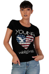 Women's Juniors Patriotic Casual Graphic Print Short Sleeve T-Shirt Top - DN2010