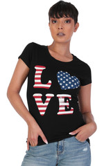 Women's Juniors Patriotic Casual Graphic Print Short Sleeve T-Shirt Top - DN2013